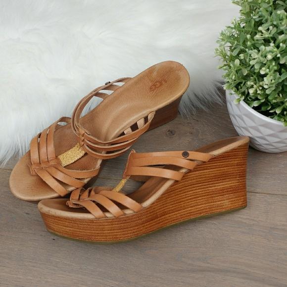 7b3f22e7b4c Ugg Wedge Strappy Sandals Tan